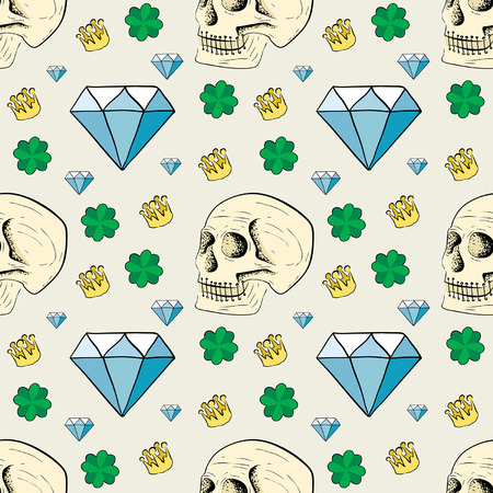 seamless pattern with skulls and diamonds on the theme of tattoo Vector