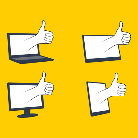 like icon: like icon on the screen, showing thumbs up Illustration