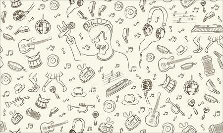 Musique transparente dessin à main levée, de croquis, instruments de musique, partitions motif