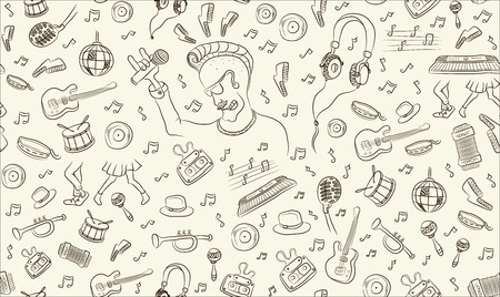 Music seamless pattern freehand drawing, sketch, musical instruments, sheet music