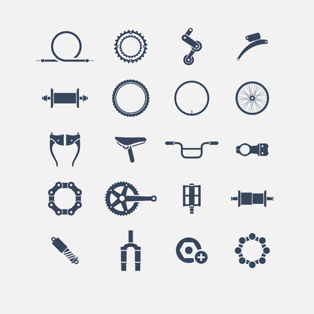bicyclette: Bicycle Parts ic�nes, ic�nes simples, ic�ne Illustration