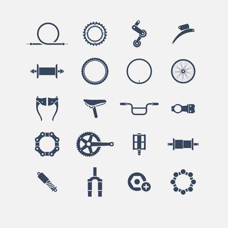 in chains: Piezas de bicicleta iconos, iconos simples, icono