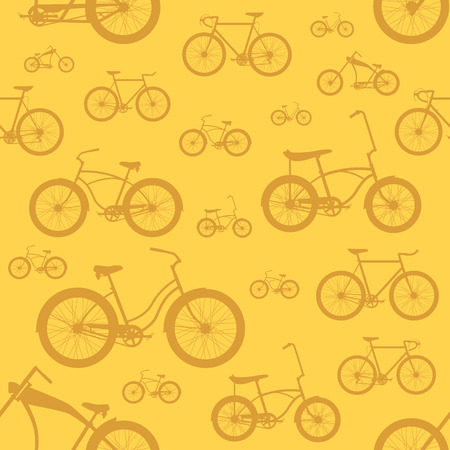 Bicycle seamless pattern on a colored background Vector