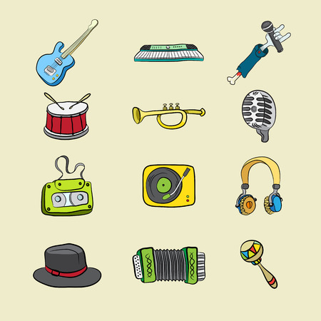 colorful musical icons on a light background hand-drawn Vector