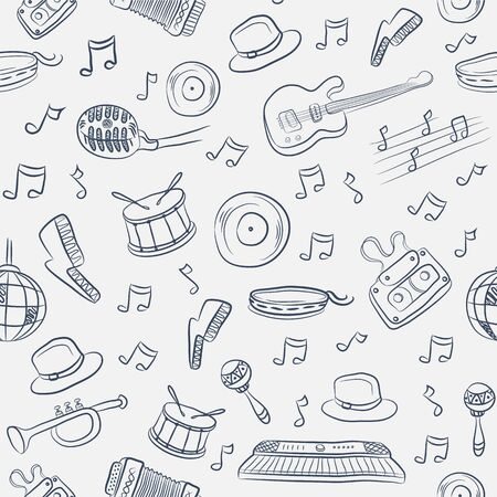 Music seamless pattern with different instruments and notes Vector