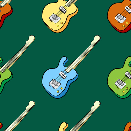 melomaniac: seamless pattern of colored guitar on a green background Illustration