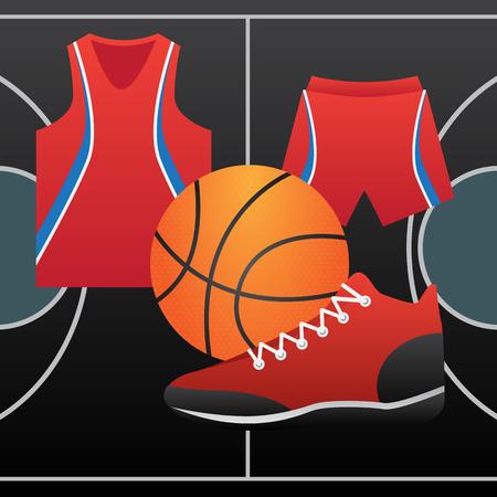 tanktop: basketball court form of ball players Illustration