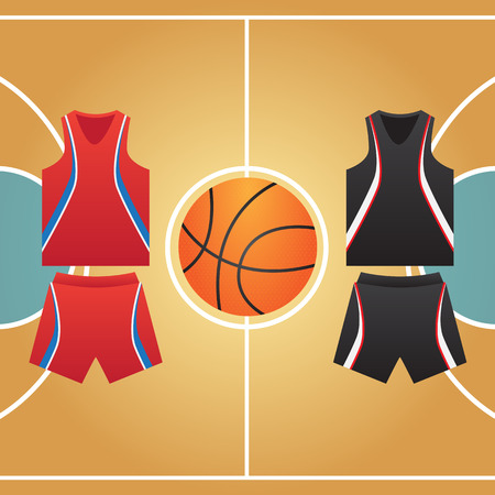 three points: basketball court form of ball players Illustration