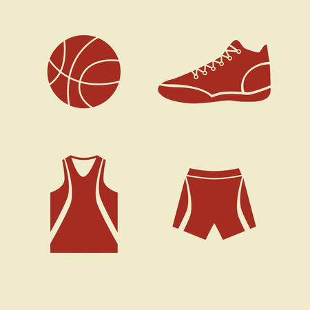 nba: Set of flat icons basic basketball accessories