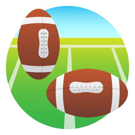 college football: balls lie on the field for college football Illustration