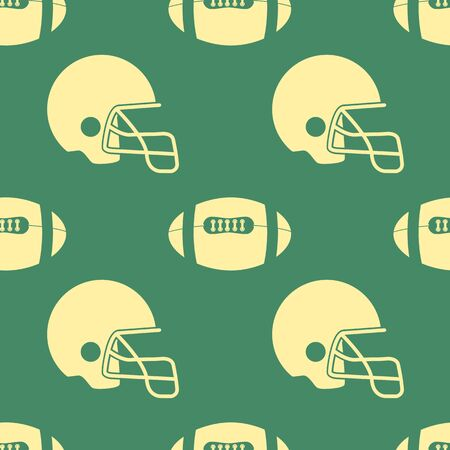 gridiron: seamless pattern with balls and helmets on a green background