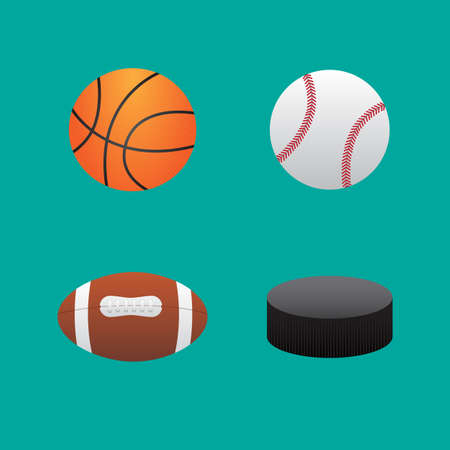 pelota rugby: Iconos pelotas de baloncesto de fútbol de béisbol y hockey puck Vectores