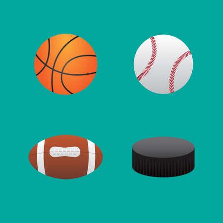 basketball ball: Icons balls baseball football basketball and hockey puck
