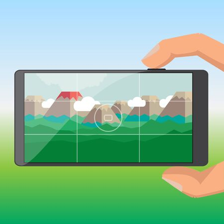 chill out: Tourists take pictures of the volcano on a mobile phone Illustration
