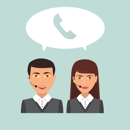 callcenter: Man and woman call center workers Illustration