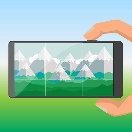 Tourists take pictures of the mountain on a mobile phone Vector
