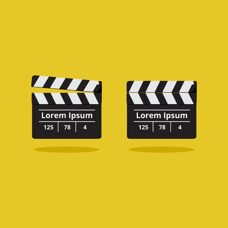 movie clapper: Movie clapper on a yellow background