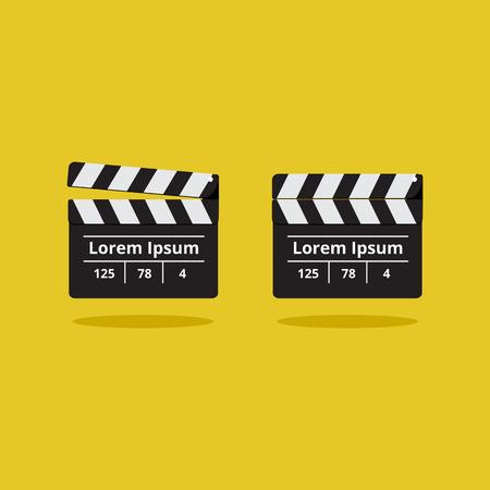 movie clapper: Valvola di film su uno sfondo giallo