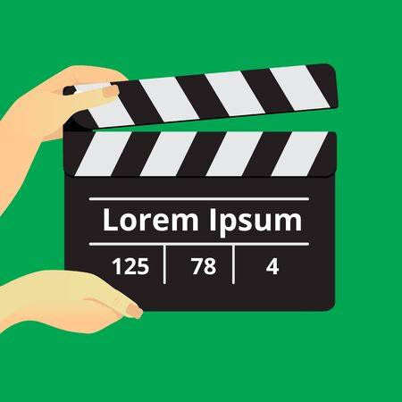 Movie clapper in female hands on a green background Vector