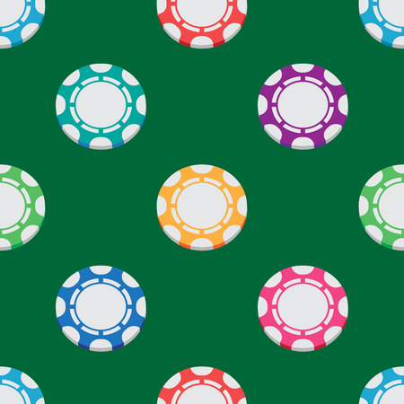 wager: seamless pattern of playing chips from the casino Illustration
