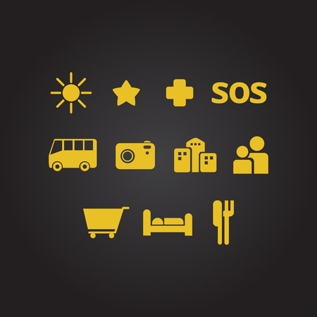 flat icons for online maps road signaling Vector