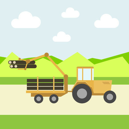 carries: tractor with a manipulator carries wood