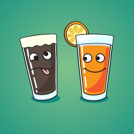 facia: choose their way of life on the example of a glass of beer and juice Illustration