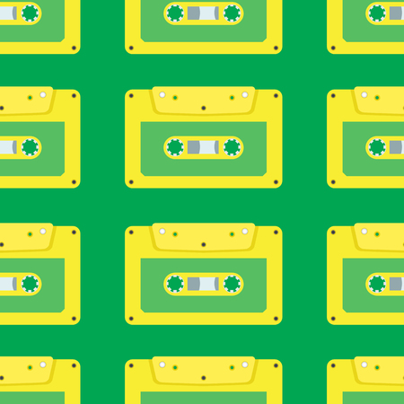 seamless pattern of yellow tape on a green background Vector