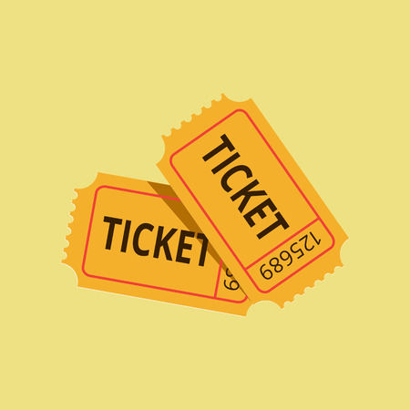 cinema ticket: Yellow card on bright background Illustration