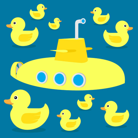 yellow rubber duck toy submarine and bathing Illustration