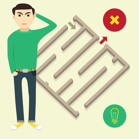 new ideas: man in search of solutions or new ideas Illustration