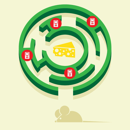 mouse trap: mouse in a maze in search of cheese Illustration
