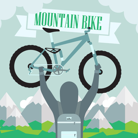 conquest: conquest of height on a mountain bike Illustration