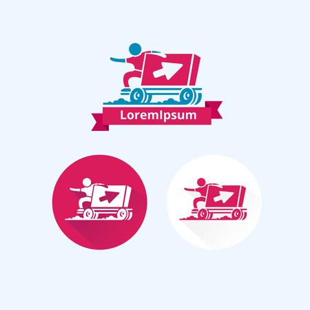 logo de comida: logotipo en el tema de la entrega de alimentos o cosas