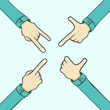 finger pointing up: set of cartoon hands various gestures