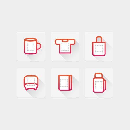 desktop printer: flat icons with objects for the application prints