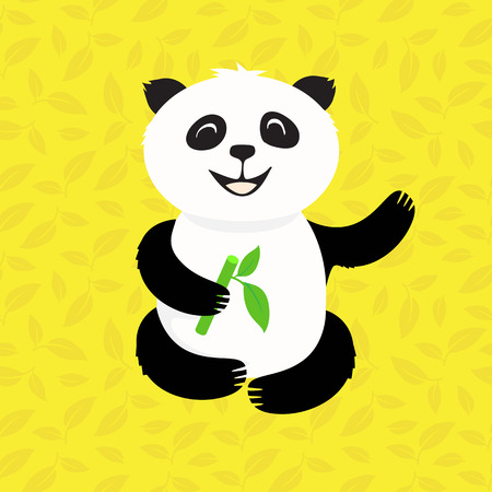 pleased: pleased panda eats bamboo in the leaves Illustration