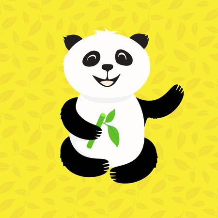endanger: pleased panda eats bamboo in the leaves Illustration