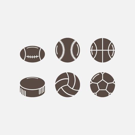 balones deportivos: juego de bolas de juego para deportes activos Vectores
