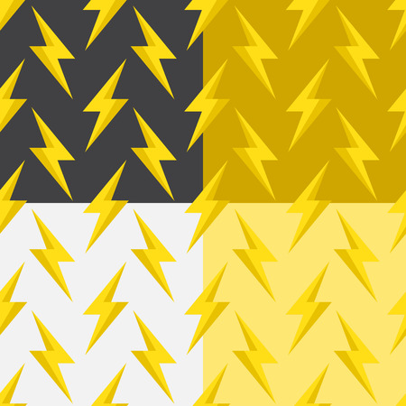 Seamless pattern with bright lightning on different backgrounds