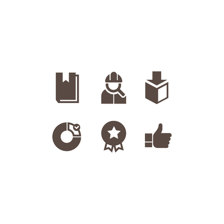 advantages: a set of flat icons on a theme of business to describe the advantages of the company Illustration