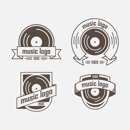 record: Three vintage logo with vinyl and tape