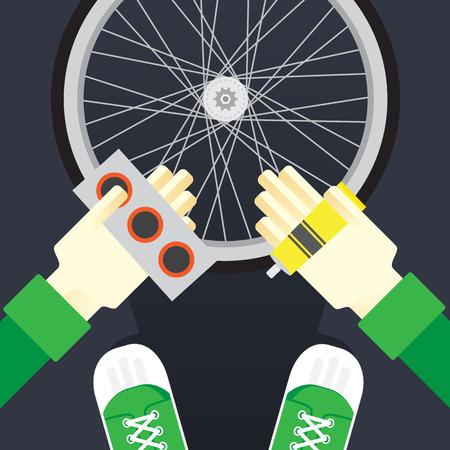 bicicleta: bicicleta de reparación ruedas kit de reparación de pinchazos
