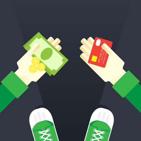 bribe: money in the hands of the bank card to the coin