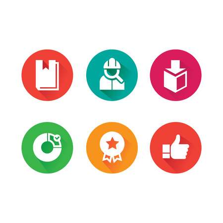 describe: a set of flat icons on a theme of business to describe the advantages of the company Illustration