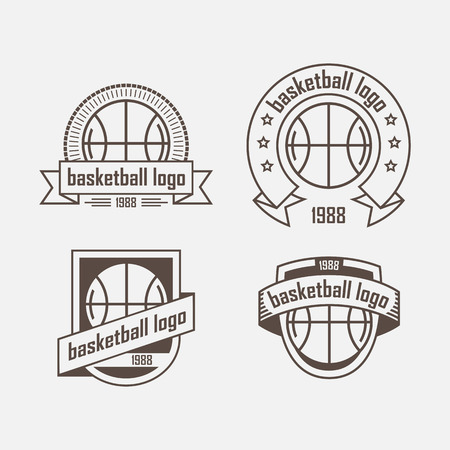 Vier logo met een basketbal bal en lint