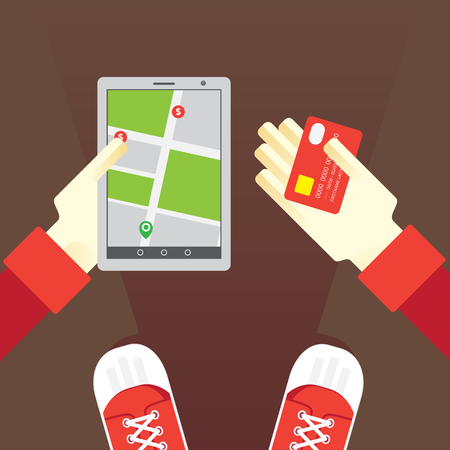 travel phone: Electronic payments anywhere using the map and a tablet Illustration