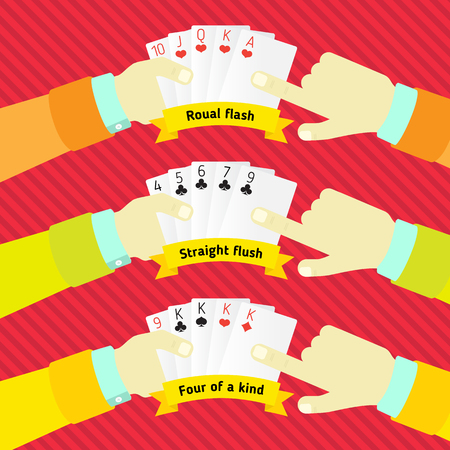hold high: combination of poker, in the hands of man Illustration