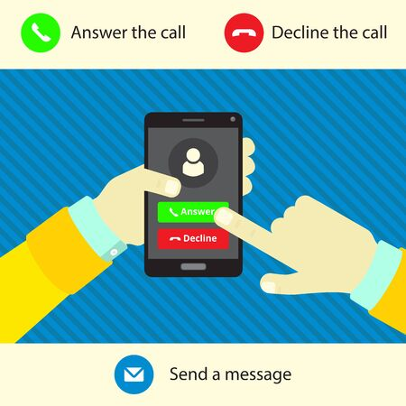 hang up: Ringing phone in hand, options