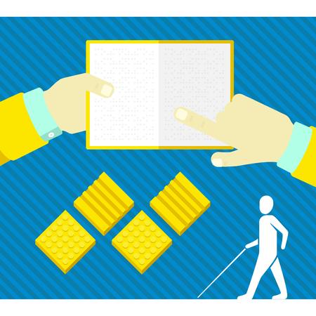 braille: un ciego, baldosas táctiles, la lectura de un libro en Braille Vectores